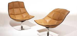 jehs+laub lounge chair leather and crome base